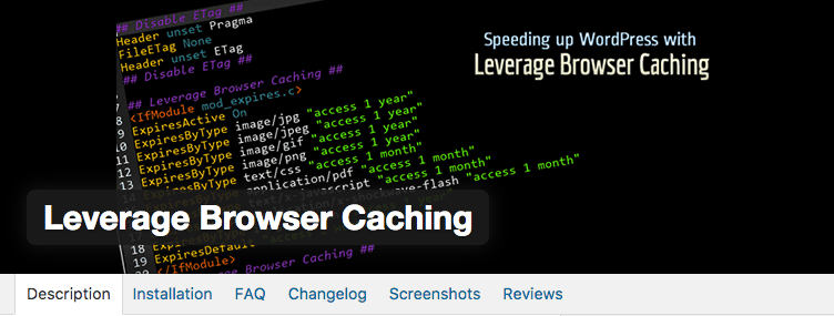 Leverage Browser Caching - WordPress extension
