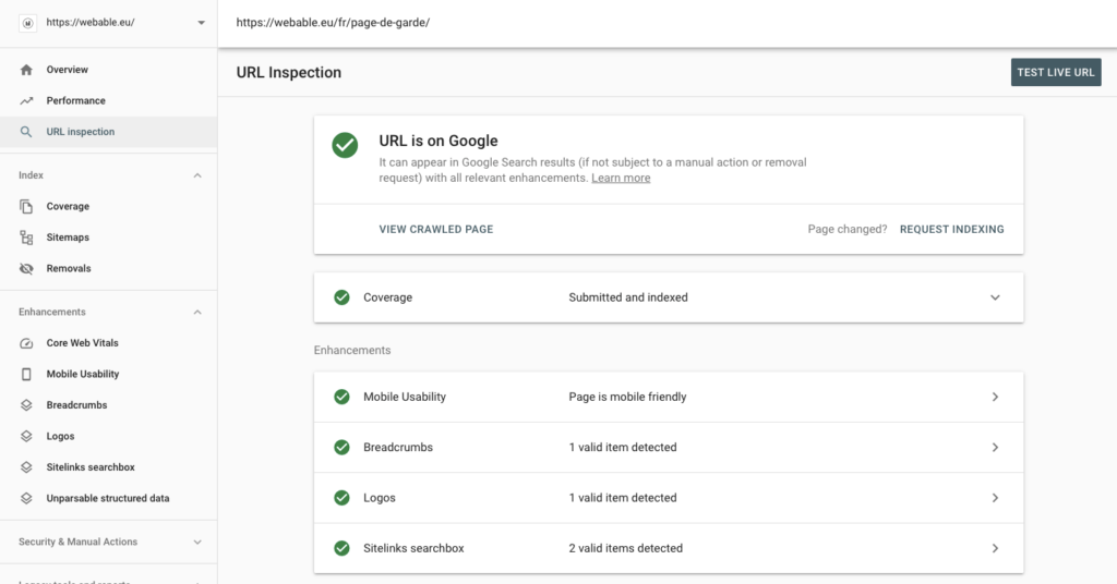 Google search console - URL inspector tool