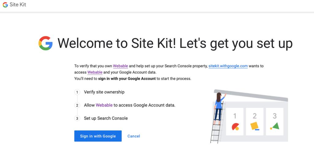 Google site kit - setup