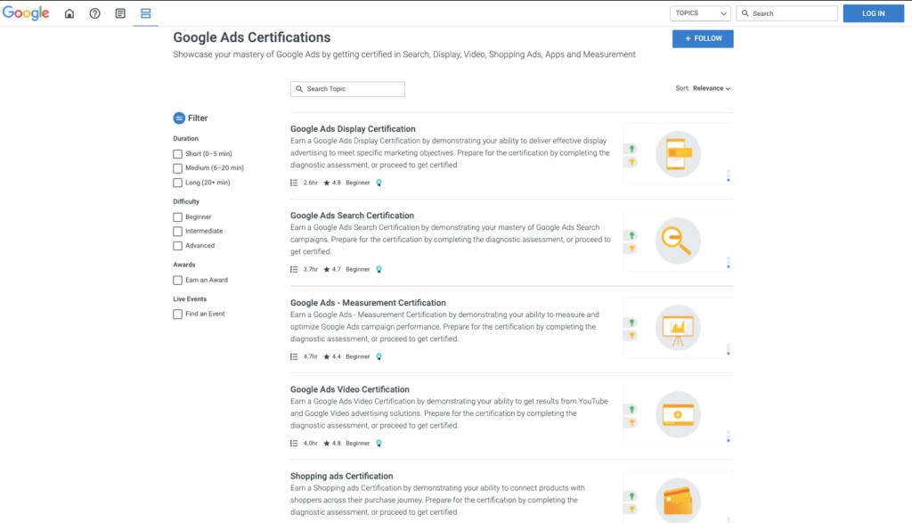 les formations digitals gratuites de Google - Google Skillshop