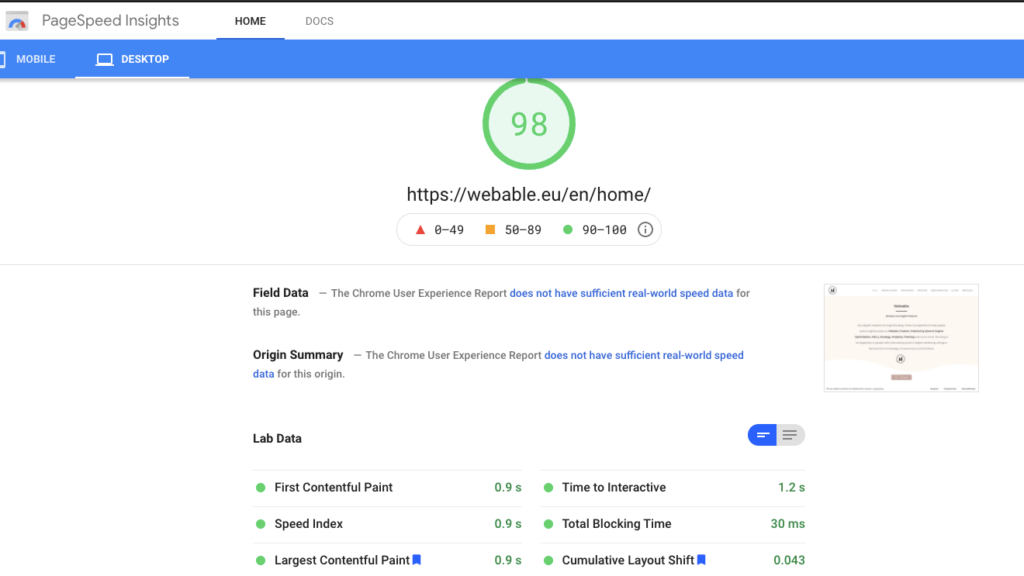 Page Speed Insights - Core Web Vitals