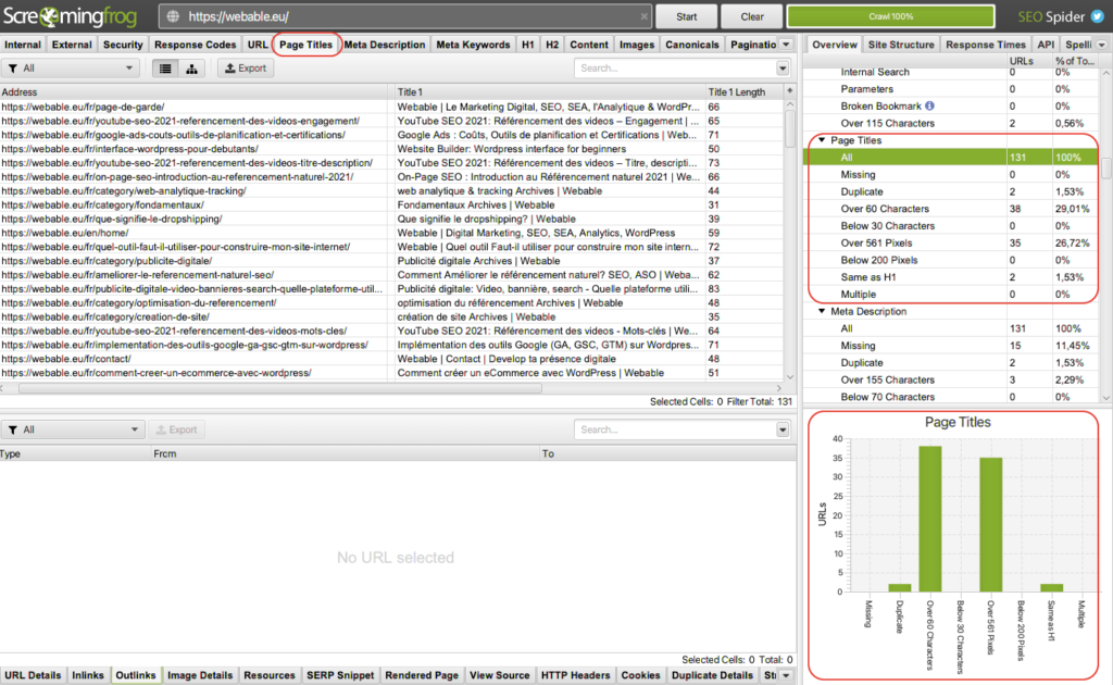 Screaming frog title tag analysis - Website Audit