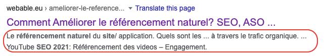 Optimisation sur la page : Meta descriptions. Comment augmenter le traffic organique sur un site?
