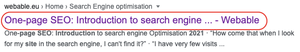 one page seo - title tag - search engine