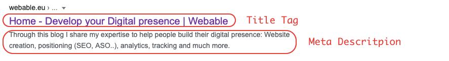 title tag and meta description - website audit